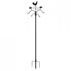 Rooster Weathervane with Double Shepherds Hook Bird Feeding Station