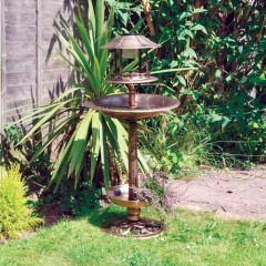 Nature's Market Copper Effect Solar Bird Bath and Feeding Station